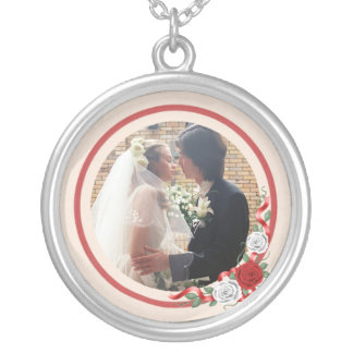 Red & White Roses Wedding Photo Silver Necklace