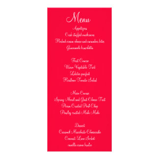 Red White Script Wedding Menus Customized Rack Card