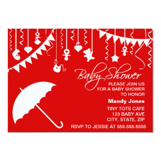 Red & white umbrella stylish modern baby shower card