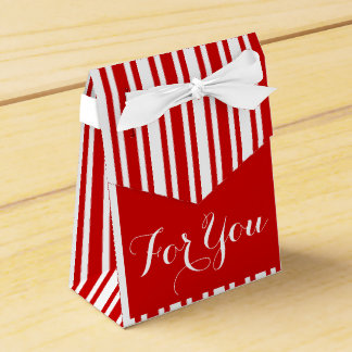 Red white wedding stripes favour box