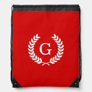 Red White Wheat Laurel Wreath Initial Monogram Drawstring Bag