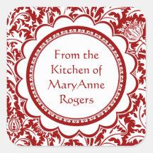 Red William Morris Canning Jar Food Labels Square Sticker