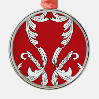 Red Wine Burgundy White Brocade Elegant Design Christmas Ornament