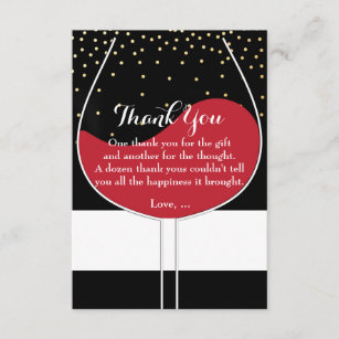 Red Wine Glass Gold Black & White Thank You Cards