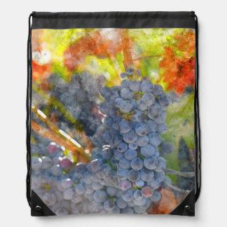 Red Wine Grapes on Vine Drawstring Bag