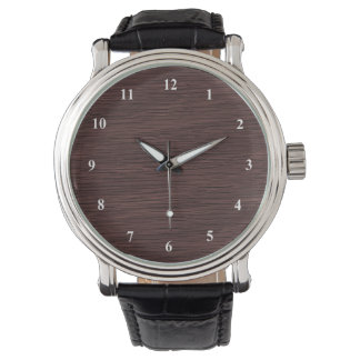 Red Wine Natural Oak Wood Grain Look Watch