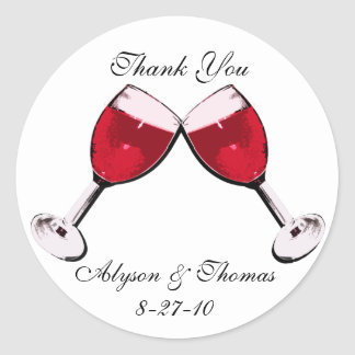 Red Wine Toast Round Sticker