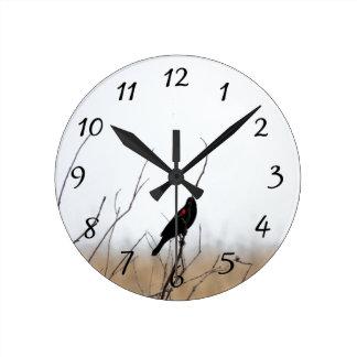 Red Winged Black Bird Round Clock