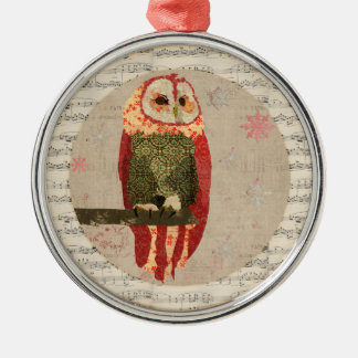 Red Winter Owl Snowflakes Ornament