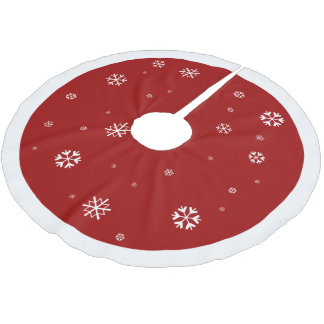 Red with White Snowflake ~ Christmas Brushed Polyester Tree Skirt