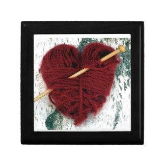 Red wool heart on birch bark photograph gift box