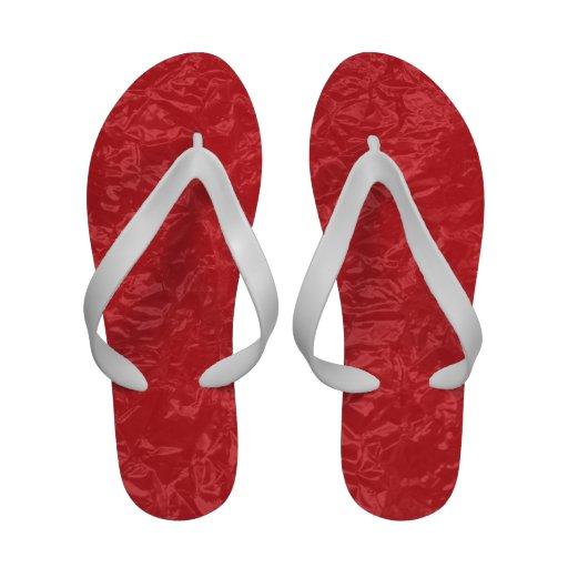 red wrinkled foil sandals