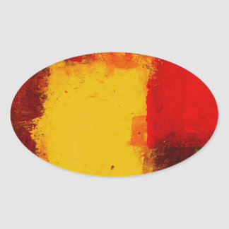 Red Yellow Abstract Oval Sticker