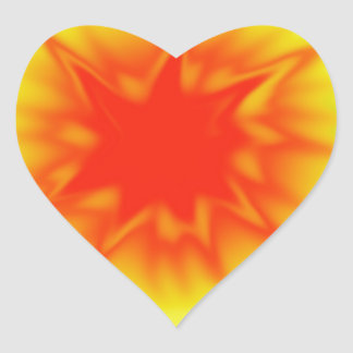 Red Yellow and Green Tie Dye Heart Stickers