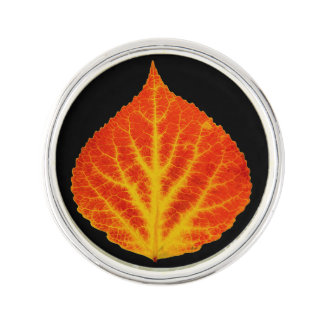 Red & Yellow Aspen Leaf #10 Lapel Pin