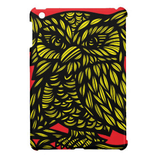 Red Yellow Black Owl Artwork Drawing Case For The iPad Mini
