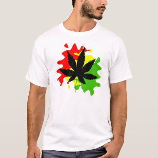 red yellow green behind a black weed T-Shirt