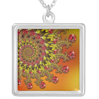 Red Yellow & Orange Bokeh Fractal Pattern Silver Plated Necklace