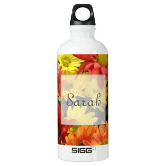 Red, yellow, orange colorful autumn daisy flowers. SIGG traveller 0.6L water bottle