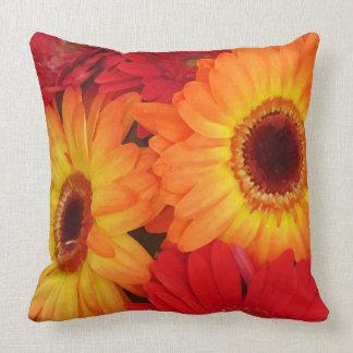 Red Yellow Orange Daisies Throw Pillow