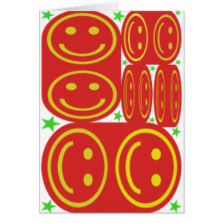 Red,Yellow Smiley's and Green Stars Card