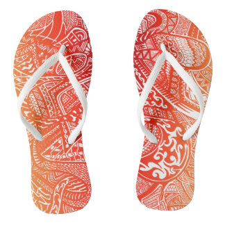 Red/Yellow Sunset Hand-drawn Crazy Tribal Doodle Jandals