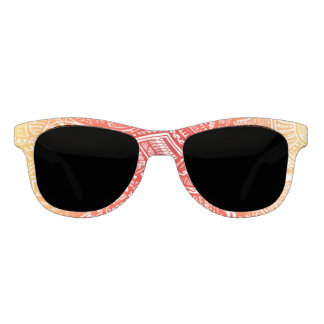 Red/Yellow Sunset Hand-drawn Crazy Tribal Doodle Sunglasses