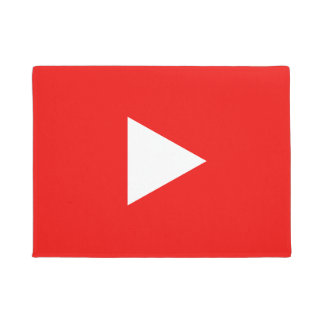 Red YouTube Play Button Doormat