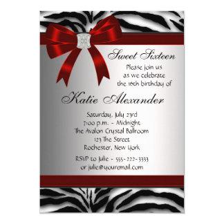 Red Zebra Sweet Sixteen Birthday Party Card