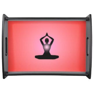 Red Zen Meditation Sunburst Serving Tray