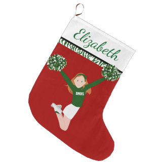 Redhead Cheerleader In Green And White Large Christmas Stocking