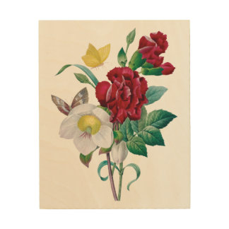 Redoute bouquet with red flowers wood wall art