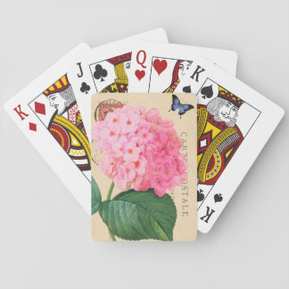 Redoute Pink Hydrangea French Accent Playing Cards