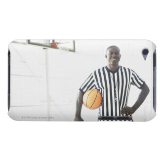 Referee holding basketball on court barely there iPod cover