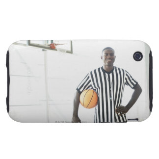 Referee holding basketball on court tough iPhone 3 case