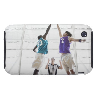 Referee watching basketball players jumping tough iPhone 3 case
