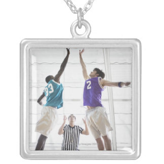 Referee watching basketball players jumping square pendant necklace