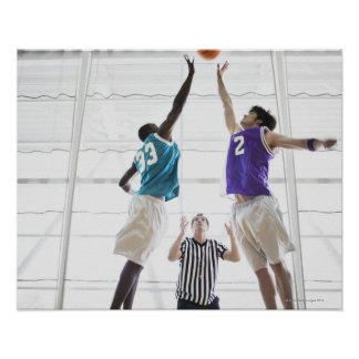 Referee watching basketball players jumping print
