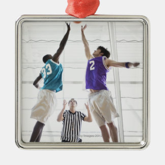 Referee watching basketball players jumping Silver-Colored square decoration