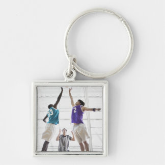 Referee watching basketball players jumping Silver-Colored square key ring