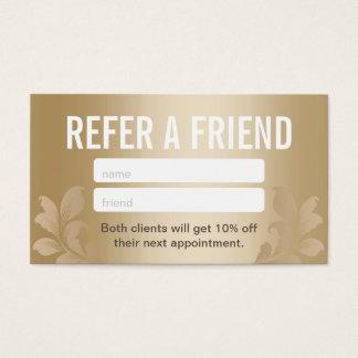 Referral Card | Elegant Gold Hair & Makeup Salon