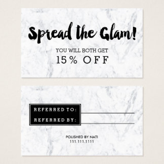 Referral card glam modern black typography marble