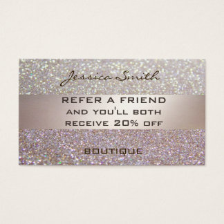 Referral card glamorous faux chic glittery