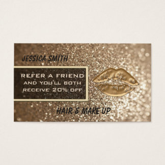 Referral card luxury faux glittery chic gold lips