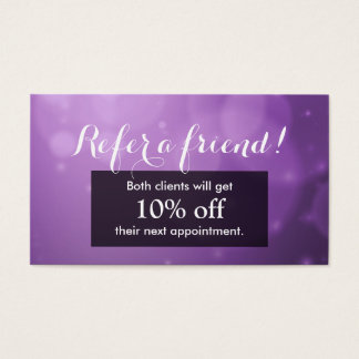 Referral Card | Modern Abstract Purple Lights