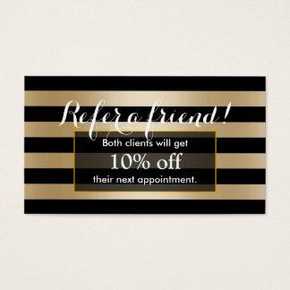 Referral Card | Modern Black & Gold Stripes