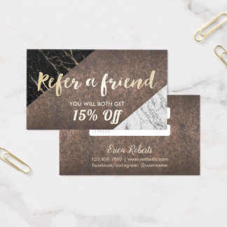 Referral Card | Modern Marble Gold Script