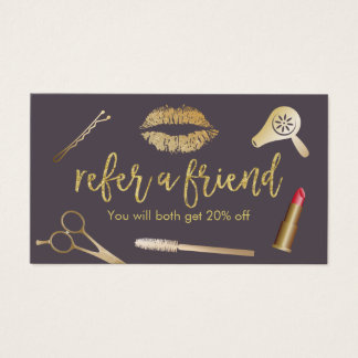 Referral Card | Modern Purple & Gold Beauty Salon
