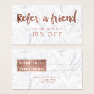 Referral card modern rose gold typography marble