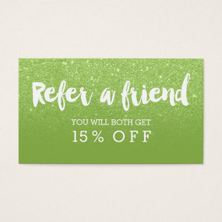 Referral card modern typography green glitter
